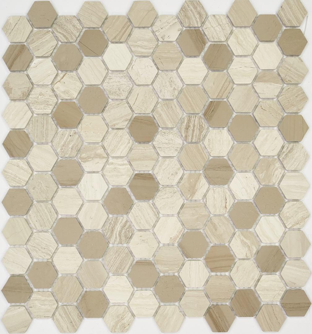 Мозаика Pietrine Hexagonal Travertino 30126 25х25х6мм