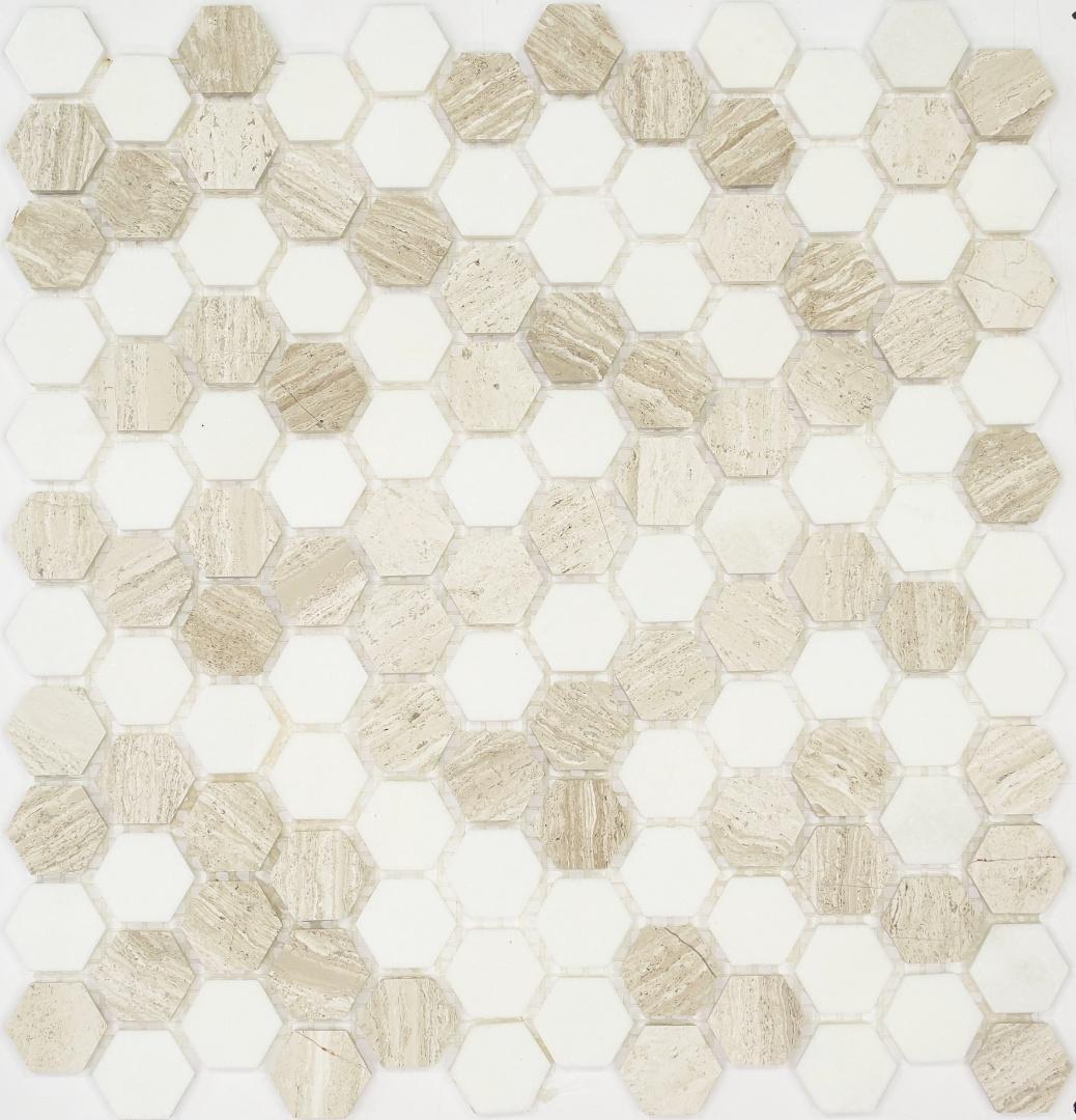 Мозаика Pietrine Hexagonal Bianco Travertino 30127 25х25х6мм